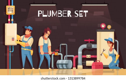Plumbers team fixing leakage in boiler room cartoon composition with tool kit box gas meter vector illustration