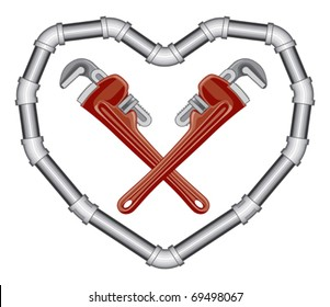 Plumbers Valentine is and illustration of crossed pipe wrenches inside a heart made of pipe. Two color art can be easily edited or separated for print or screen print.