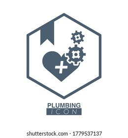 Plumbing badge with heart and gears logo service