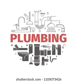 Plumbing banner. Line and flat icons. Vector signs for web graphics.