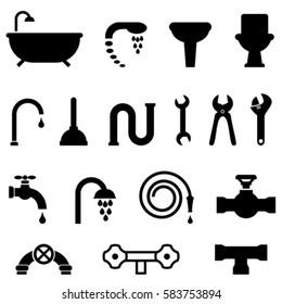 Plumbing, bathroom and kitchen icon set
