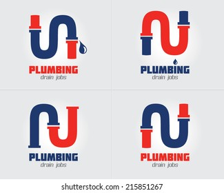 Plumbing Business icon vector set. Plumbing service symbol set. Brand visualization template. Vector graphics for water pipes, water drops, hot & cold water concept. Typography proposal. Editable.