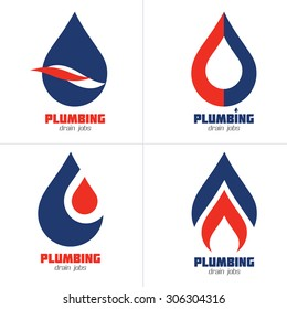 Plumbing Business Icon Vector Set. Plumbing service symbol set. Brand identity template. Vector graphics for water flow, water drops, hot & cold water, speed, gas flames concept. Sample text. Editable