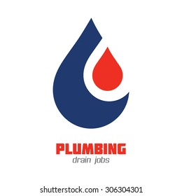 Plumbing Business or Water Supply Service icon vector sign. Brand identity template. Vector graphics for water flow, water drops, hot & cold water concept. Typography proposal. Editable layered.