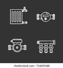 Plumbing chalk icons set. Radiator, water meter and pump, manifold tap. Isolated vector chalkboard illustrations