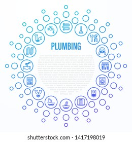 Plumbing concept in circle shape. Thin line icons: water meter, bathtub, sink, water filter, faucet, dishwasher, siphon, shower cabin, pipe. Vector illustration, template for mailing with copy space.