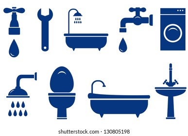plumbing engineering set with isolated bath objects on white background