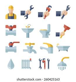 plumbing flat icons set