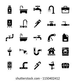 Plumbing Glyph Vector Icons Set