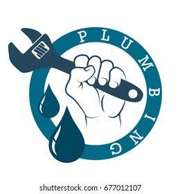 Plumbing plumbing in hand symbol vector