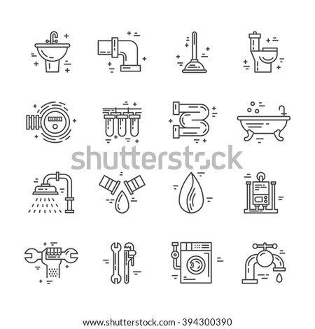 Plumbing Handyman Service Symbols Made Line Stock Vector Royalty