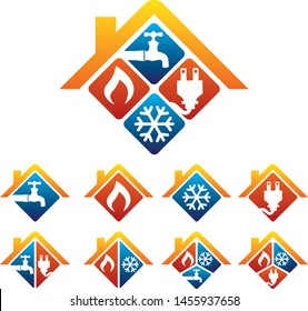 Plumbing Heating Cooling Electrical Store and Service Logo