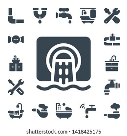 plumbing icon set. 17 filled plumbing icons.  Simple modern icons about  - Pipeline, Pipe, Sink, Sewer, Repair, Bathtub, Faucet