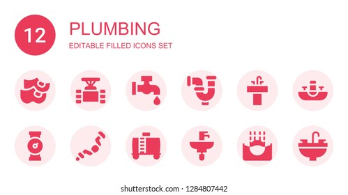 plumbing icon set. Collection of 12 filled plumbing icons included Clogs, Pipe, Faucet, Sink, Ratchet, Water tank, Submerge