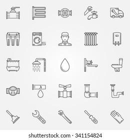 Plumbing icons set - thin line sanitary engineering symbols or bathroom logo elements