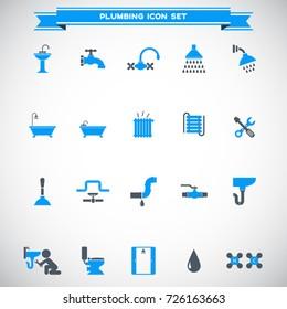 plumbing icons set vector
