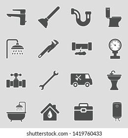 Plumbing Icons. Sticker Design. Vector Illustration.