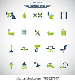 Plumbing icons. Universal icon set for web and mobile. Vector.
