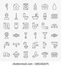 Plumbing Line Icons Set. Vector Thin Outline Industrial Symbols.