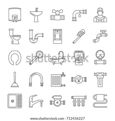 Plumbing Linear Icons Set Sanitary Equipment Stock Vector Royalty
