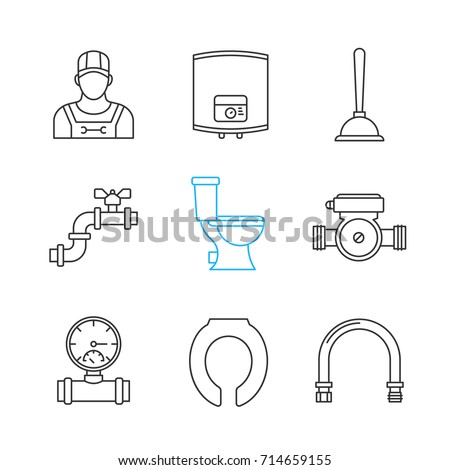 Plumbing Linear Icons Set Thin Line Stock Vector Royalty Free