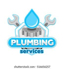 Plumbing logo badge icon emblem template vector.