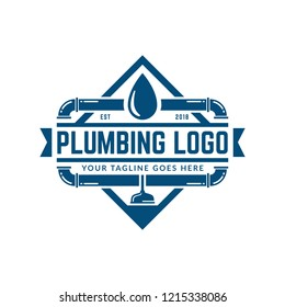 Plumbing logo template with retro or vintage style, perfect for your plumbing company brand