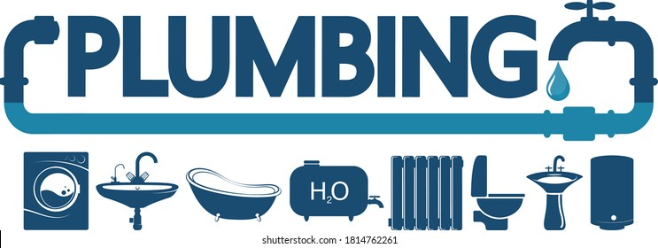 Plumbing maintenance service and repair symbol for business