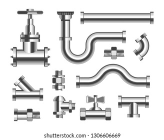 Plumbing material tubes and piping and canalization isolated metal pipeline elements sewer and adapters bathroom and kitchen waterpipes straight and curved pipes repair works fastening and replacement