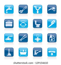 Plumbing objects and tools icons - vector icon set