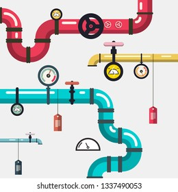 Plumbing - Pipeline Vector Flat Design Illustration with Pipes and Valves