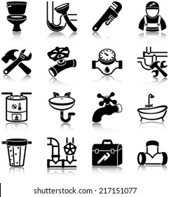 Plumbing related vector icons / silhouettes
