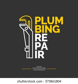 Plumbing repair banner. Vector stylish poster and illustration.