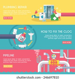 Plumbing repair fix the clog pipeline horizontal banner set isolated vector illustration