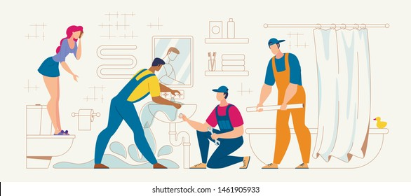 Plumbing Repair Service Flat Vector Concept. Plumbers Team Trying to Stop House Flooding Because of Sink Clogging in Bathroom, Repairing Leaky Pipe, Frightened Woman Standing on Bowl Illustration