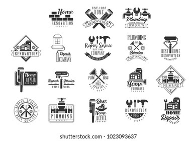 Plumbing And Repairing Service Black And White Sign Design Templates With Text And Instrument Silhouettes