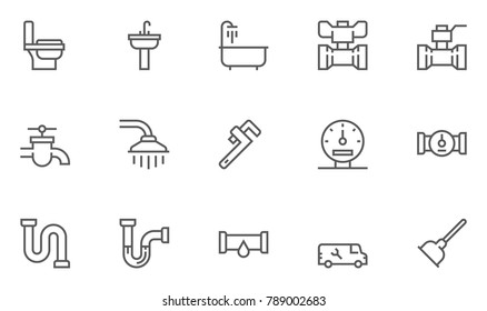 Plumbing and Sanitary Equipment Line Icons contains Toilet, Sink, Bathtub, Pipe, Water Meter and more. Editable Stroke. 48x48 Pixel Perfect.