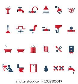 Plumbing And Sanitary Vector Icon Set