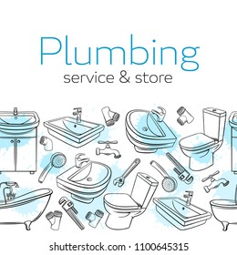 Plumbing seamless border. Hand drawn shower, bathroom sink, toilet, sanitary wrench and tap for house plumbing promotion design. Sketch vector illustration with drops of watercolor.