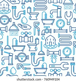 Plumbing seamless pattern with thin line icons of bathtub, shower, pipe, wrench, drop, leakage, meter, plunger. Modern vector illustration.