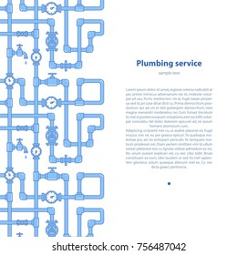 Plumbing service- background with text area. Brochure template with illustration of pipeline, water meters and cranes.