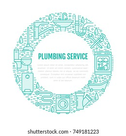 Plumbing service blue banner illustration. Vector line icon of house bathroom equipment, faucet, toilet, pipeline, washing machine, water boiler. Plumber repair circle template with place for text.
