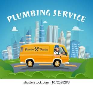 Plumbing Service Car Fast Ride to Delivery Plumber. Vector Illustration of Cartoon Character Driving on Call. Repair Leak at Home.