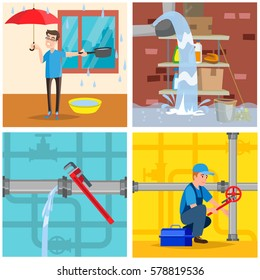 Plumbing service concept set. Repair fix leaking of roof, basement, pipe. Vector illustration. Isolated.