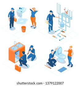 Plumbing service home office bathroom sanitary fixing installations boiler heating system repair 4 isometric compositions vector illustration