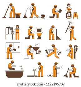plumbing service icons, cleaner worker icons set, orange theme