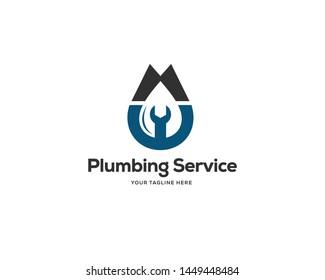 plumbing service logo design template, technology logo design vector