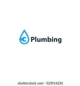 Plumbing service logo, pipes drain concept, repair works, facility installment, water drop, pipe and wrench plumbing icon, vector illustration