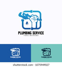 Plumbing Service Logo Template Design. Creative Vector Emblem, for Icon or Design Concept.