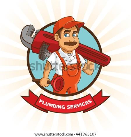 plumbing service plumber cartoon design vector stock vector royalty